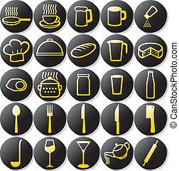 icônes, ensemble, cuisine