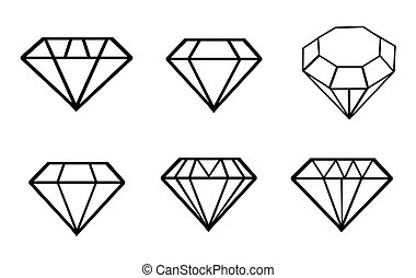 icônes, ensemble, diamant, vecteur