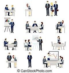 icônes, ensemble, entraînement, business