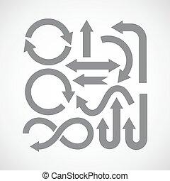 icônes, ensemble, flèche