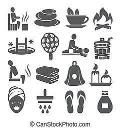 icônes, ensemble, fond blanc, sauna