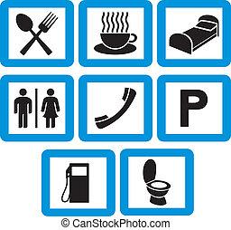 icônes, ensemble, hôtel, -, signes