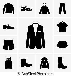 icônes, ensemble, homme, vêtements