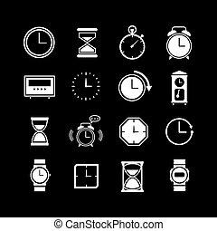 icônes, ensemble, horloge