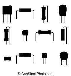 icônes, ensemble, isolé, vecteur, résistances, électronique, arrière-plan., composants, silhouette, blanc