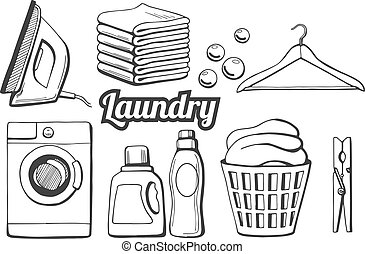icônes, ensemble, lessive