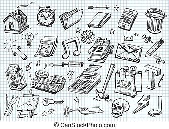 icônes, ensemble, main, dessiné