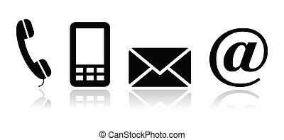 icônes, ensemble, noir, contact