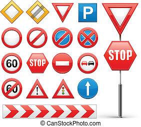 icônes, ensemble, panneaux signalisations