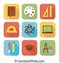 icônes, ensemble, plat, école, education