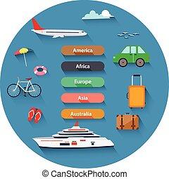 icônes, ensemble, plat, voyager, conception