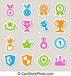 icônes, ensemble, récompenses, trophée