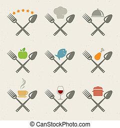 icônes, ensemble, restaurant