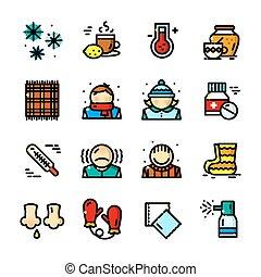 icônes, ensemble, rhumes, illustration, vecteur, ligne mince