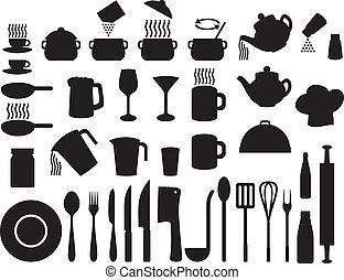 icônes, ensemble, (set, cuisine
