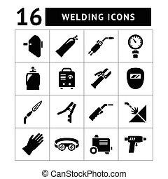 icônes, ensemble, soudure