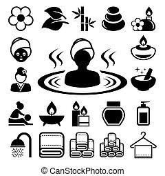 icônes, ensemble, spa