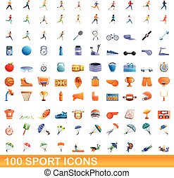 icônes, ensemble, style, 100, dessin animé, sport