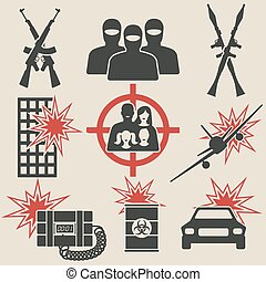 icônes, ensemble, terrorisme