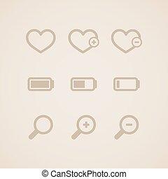icônes, ensemble, toile