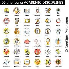 icônes, ensemble, universitaire, disciplines