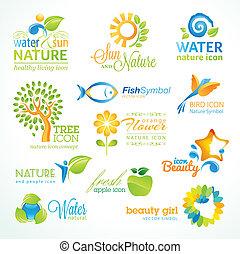 icônes, ensemble, vecteur, nature
