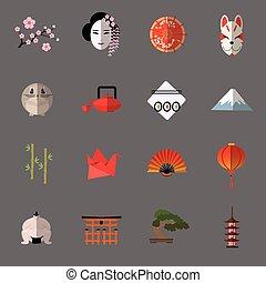 icônes, ensemble, vecteur, plat, japonaise