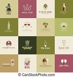 icônes, ensemble, vin