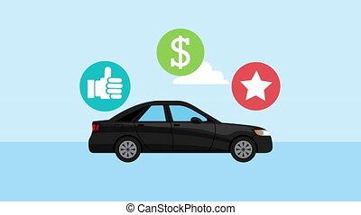 icônes, ensemble, voiture, véhicule
