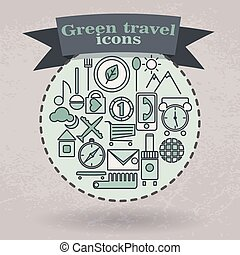 icônes, ensemble, voyage, vert