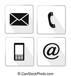 icônes, enveloppe, mobile, téléphone, -, contact, courrier, ...