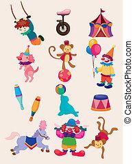 icônes, exposition, heureux, cirque, collection, dessin animé