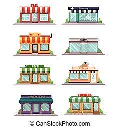 icônes, façade, magasin