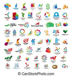icônes financières, sociétés, collection, vecteur, banques