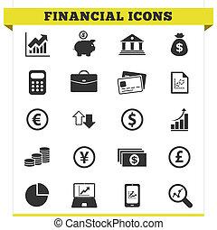 icônes financières, vecteur, ensemble