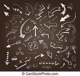 icônes, flèches, ensemble, main, dessiné, tableau