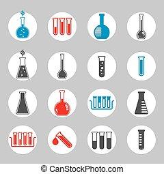 icônes, flacon, monde médical, chimique, vecteur, set.