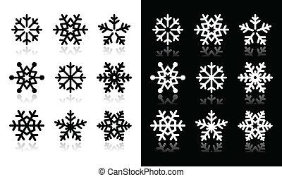 icônes, flocons neige, bla, ombre