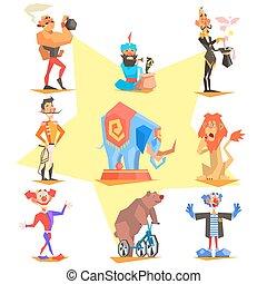 icônes, foire, amusement, cirque, collection, vecteur, carnaval
