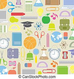 icônes, fond, école
