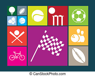 icônes, fond, couleur, sports, célèbre, plat, bouton, blanc