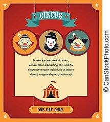 icônes, fond, foire, amusement, cirque, vecteur, vendange, carnaval, affiche