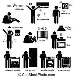 icônes, fondamental, appareils, électronique