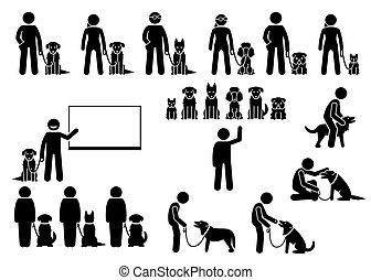 icônes, formation, set., école, chien