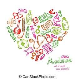 icônes, formulaire, coeur, ensemble, monde médical