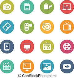 icônes, frais, --, couleurs, multimédia