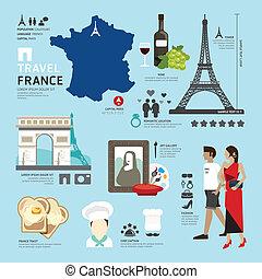 icônes, france, paris, voyage, concept., vecteur, conception, plat