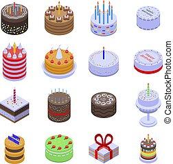icônes, gâteau anniversaire, isométrique, ensemble, style