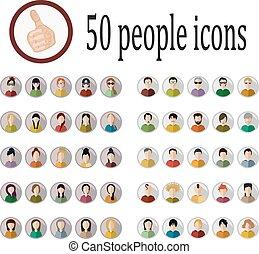 icônes, gens, 50