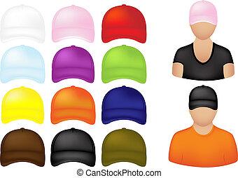 icônes, gens, casquettes